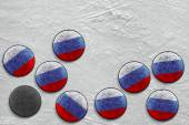 Russian hockey pucks — Stock fotografie