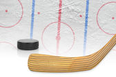 Stick, puck and hockey field — Stock Photo