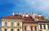 Houses with red roofs in the centre of Lviv, Ukraine — Stock Photo