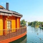 Mezhyhirya is the residence of former President of Ukraine Viktor Yanukovych in Novi Petrivtsi, Kyiv region, Ukraine. Private bath with 2 lakes. — Stock Photo #53808705