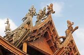 Details of Sanctuary of Truth temple (also called Wang Boran and Prasat Mai), Pattaya, Thailand — Foto Stock