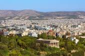 View of Athens city with Temple of Hephaestus from Acropolis hill, Greece — Stock Photo