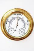 Brass Barometer, Thermometer, Hygrometer with White Face — Foto de Stock