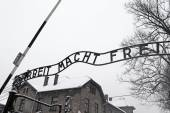 Arbeit macht frei sign (Work liberates) in concentration camp Auschwitz, Poland — Foto de Stock