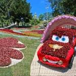 Flower cars exhibition at Spivoche Pole  in Kyiv, Ukraine — Stock Photo #64466231