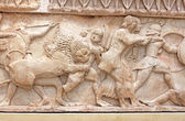 Ancient Greek sculpture representing battle, Greece — Stock Photo