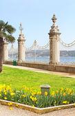 ボスポラス海峡で、トルコのイスタンブール ドルマバフチェ宮殿の近くのフェンスを表示します。 — ストック写真