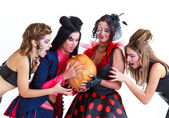 Halloween women holding a pumpkin on white background — Stock Photo