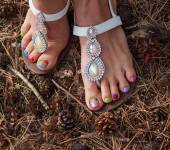 Trendy Pedicure Outdoors with Pine Cones, Closeup — Stock Photo