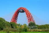Letní krajina s mostem — Stock fotografie