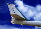 Tail-plane of the military aircraft — Stock Photo