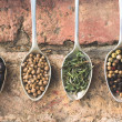 Assortment of powder spices on spoons — Stock Photo #53963495