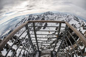 Sightseeing point over the Mountain. Fisheye lens view. — Stock Photo