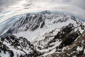 Panorama of Snow Mountain Range Landscape with fisheye lens — Stock Photo