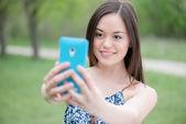 Selfie, piękne dziewczyny zdjęcia jej własny, instagram — Zdjęcie stockowe