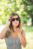 Summer portrait, young brunette woman having fun outdoor — Stock Photo