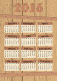 Wood calendar 2016 — Stock Vector