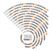 2016 spiral calendar — Stock Vector