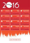 2016 calendar with Santa Claus — Stock Vector