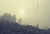 Power line in the fog — Stock Photo