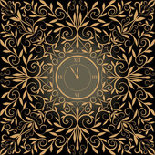 Golden antique color clock — Stock Vector