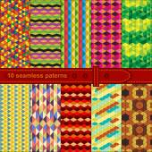 Seamless patchwork 10 patterns — Stock Vector