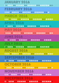 Colored striped calendar 2016 — Stock Vector