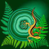 Lizard on the malachite — Stock Vector