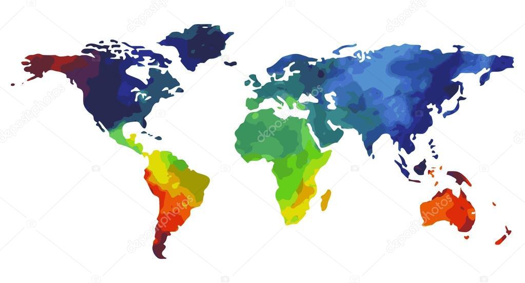 世界地图水彩 — 图库矢量图像08