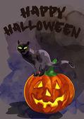 Black cat on a pumpkin.  Happy Halloween — Stock Vector