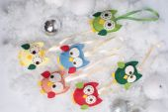 Christmas owls and balls — Stock Photo