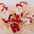 Christmas felt fabric deers and santa clauses — Stock Photo #63884361