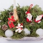Christmas felt fabric deers and santa clauses — Stock Photo #63885585