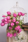 Bouquet of pink tulips — Stock Photo