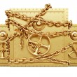 Golden safe in chains — Stock Photo #58857335