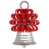 Silver bell with a red bow — Stock Photo