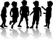 Children silhouettes — Cтоковый вектор