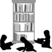 Silhouette of a girl reading a book. — Stock Vector