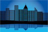 Silhouette di una città — Vettoriale Stock