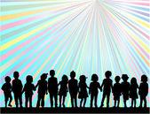 Children silhouette — Stock Vector