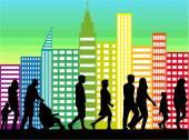 Crowd of people walking  — Stock Vector