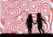 Sevgililer günü kalpleri ile arka — Stok Vektör