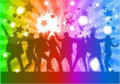 Siluetas de personas bailando — Vector de stock