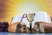 Christian religion, wine, bread and the word of God — Stok fotoğraf