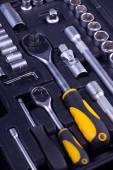 Essential tools for everyone. Keys, screws and hammers — Stock Photo