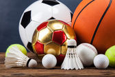 Sports accessories. paddles, sticks, balls and more — Stock Photo