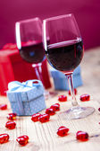 Valentine's Day, the day of lovers! Gifts and passionate red — Stockfoto