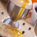 English breakfast on dark wooden table — Stock Photo #67106995