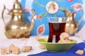 Turkish tea with cane sugar  — 图库照片