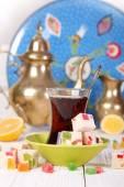 Turkish tea with  oriental sweets — 图库照片